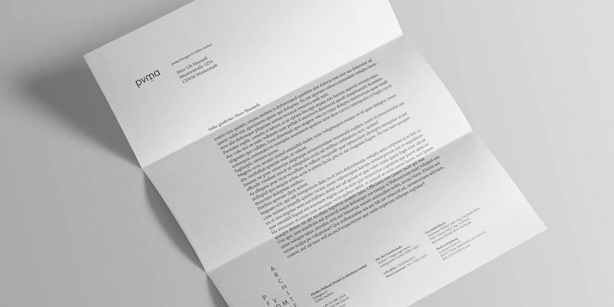 Briefpapier für das Architekturbüro pvma